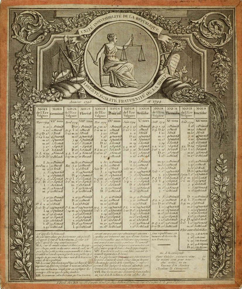 Calendrier Republicain 1793.La Revolution Francaise Par L Image Le Calendrier