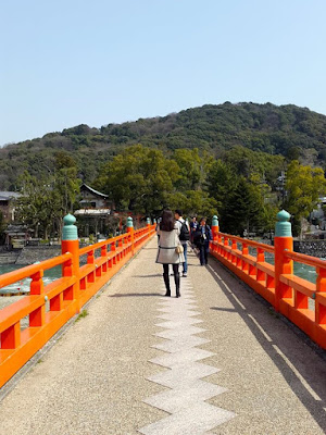 Walking on a bridge in Uji Kyoto Japan