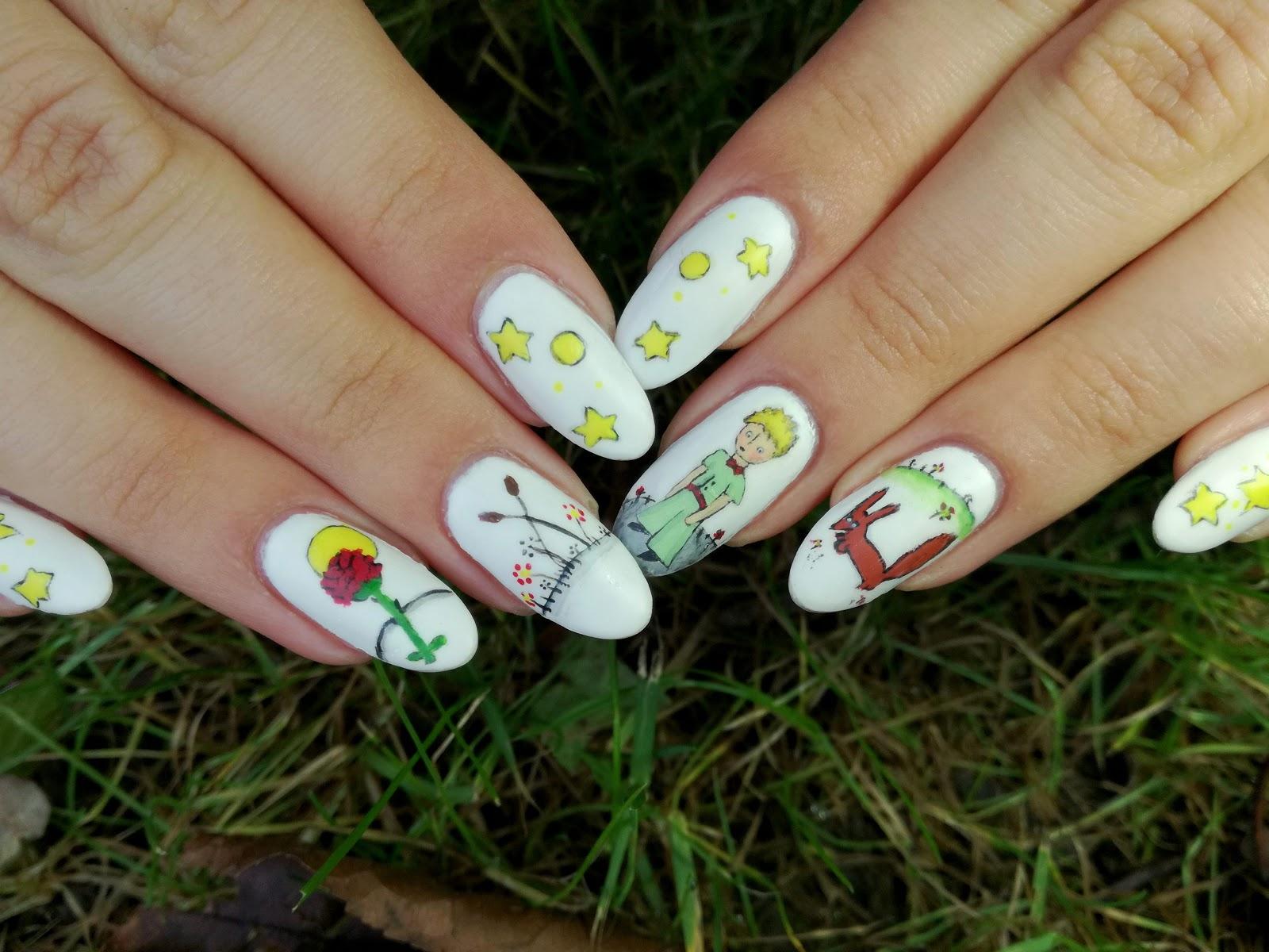 zdobienie paznokci z Małym Księciem