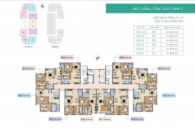 Mặt bằng tầng 4-17 tòa E- Chung cư Xuân Phương Residence
