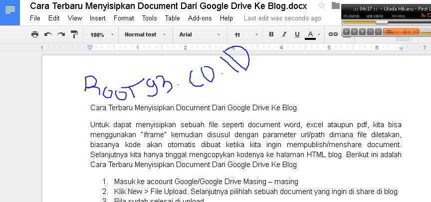 Cara Terbaru Menyisipkan Document Dari Google Drive Ke Blog Root93 Co Id Computer Networking Web Programming