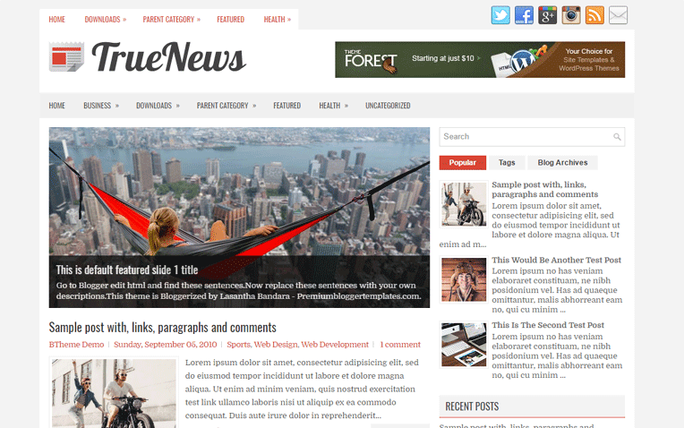 TrueNews Free Blogger Template