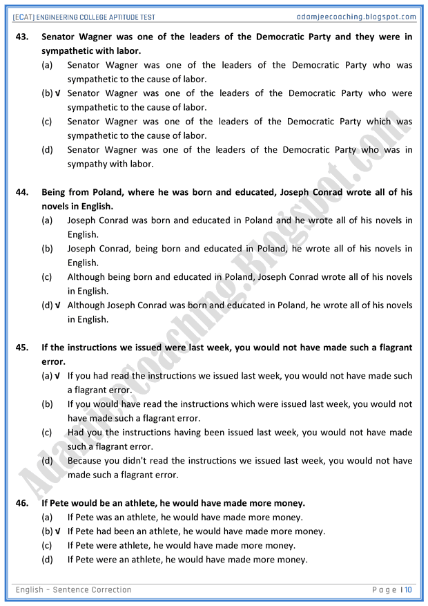 adamjee coaching  ecat english  sentence correction  mcqs for engineering college entry test