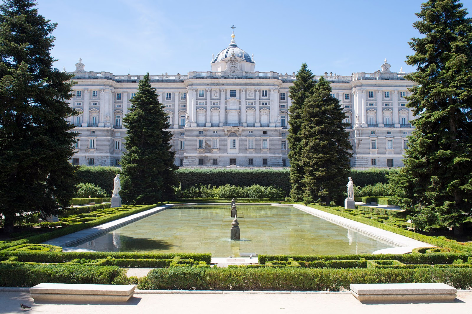 royal palace sabatini gardens madrid spain