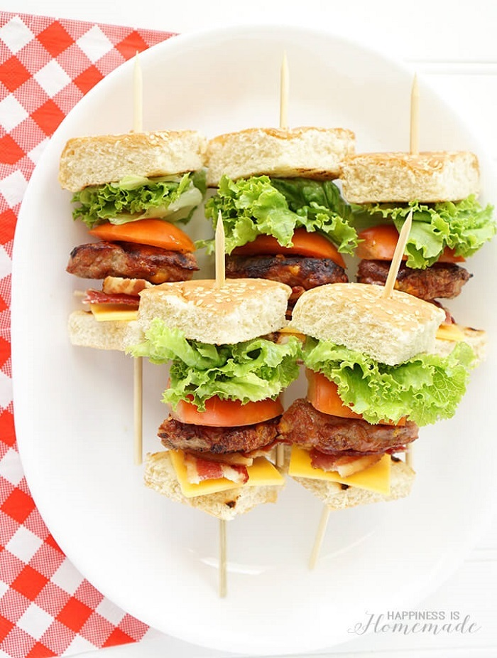 Cheddar Cheese Bacon Burger Kabobs