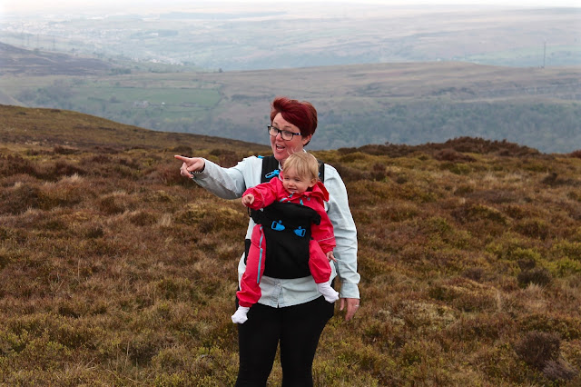 mother and baby in carrier on walk up the blorenge mountain wales review of Pao Papoose baby carrier