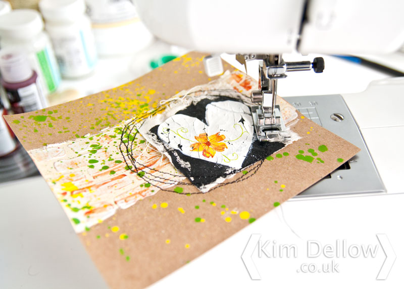 Stitching on the mixed media card