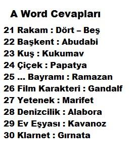 A WORD 21 30 Seviyeleri