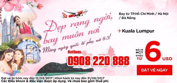 Chào mừng ngày quốc tế phụ nữ 8/3 Air Asia khuyến mãi đi Kuala Lumpur 6 USD