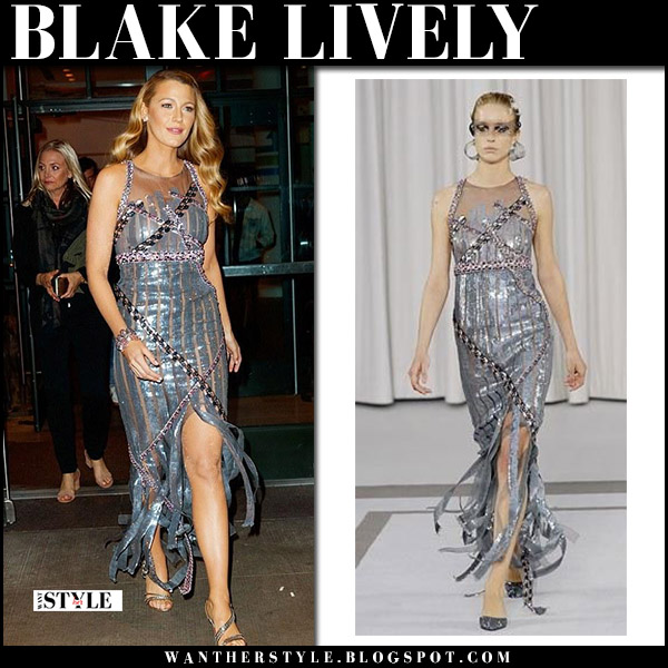 Blake Lively in metallic silver dress versace and silver sandals louboutin at All I See Is You premiere red carpet gown october 16 2017