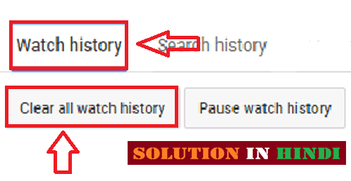 youtube  all watch history ko delete kaise kare in hindi - www.solutioninhindi.com
