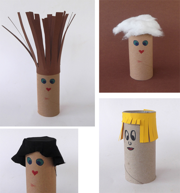 crafts with toilet paper roll, puppet, paper puppet, paper doll, paper figures, crafts, paper crafts, cardboard crafts,