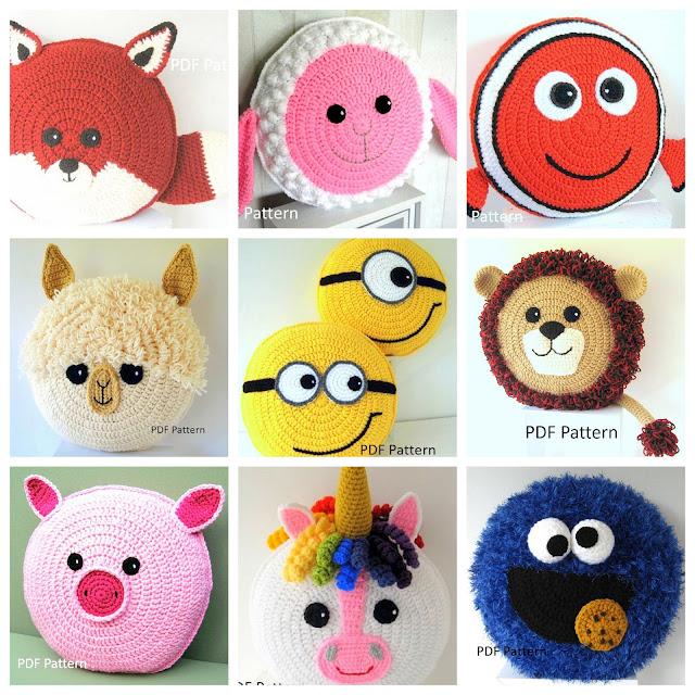 Amigurumi animal pillows crochet patterns