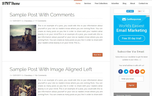 BTNT - Fast Responsive Blogger Template - Most Popular