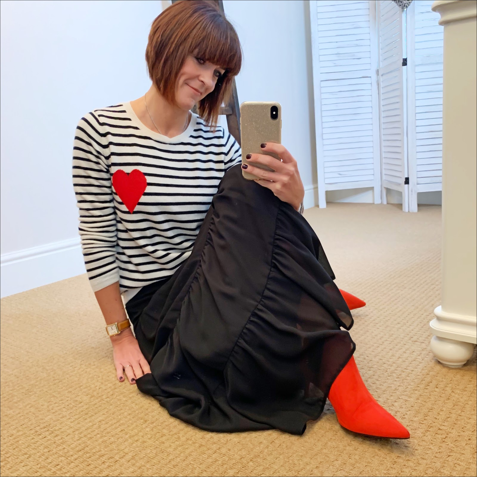 my midlife fashion, chinti and parker stripe cashmere jumper with heart, marks and spencer tiered maxi skirt, marks and spencer red kitten heel ankle boots