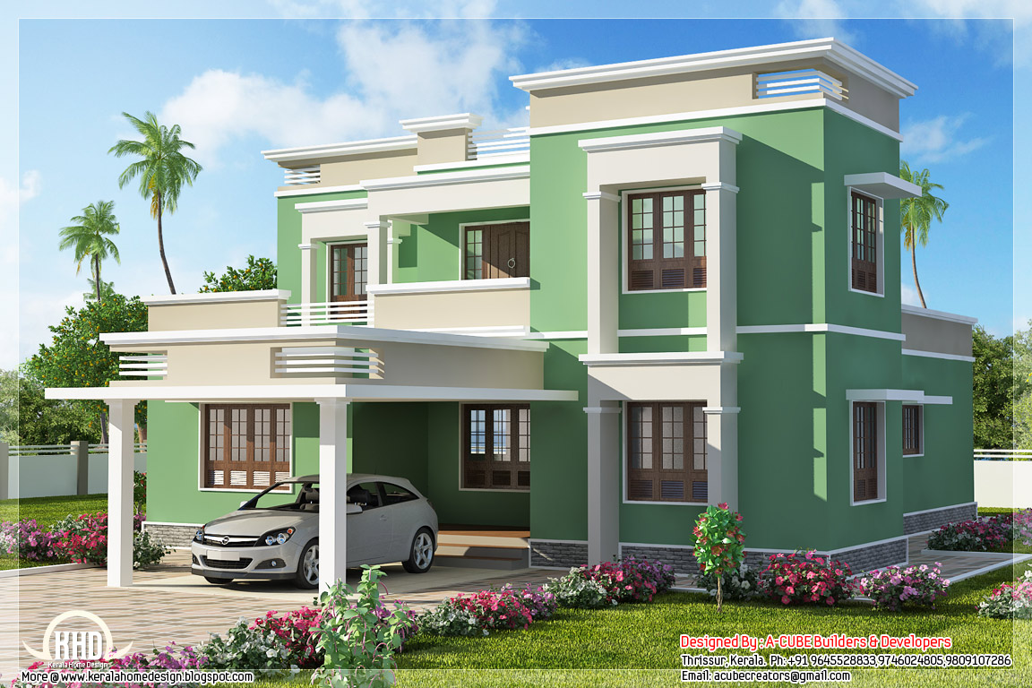Indian flat roof villa in 2305 kerala home for Indian bungalow designs and floor plans