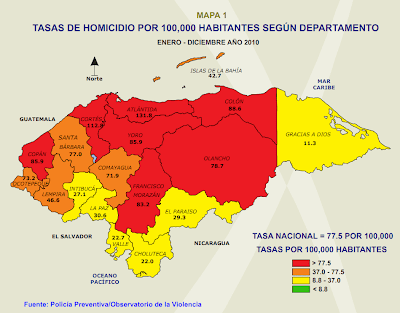 Honduras murder rate map 2010