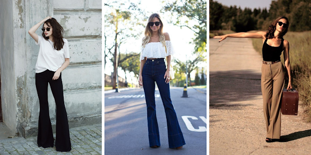 Outfit  ideas for styling flared bell bottom pants