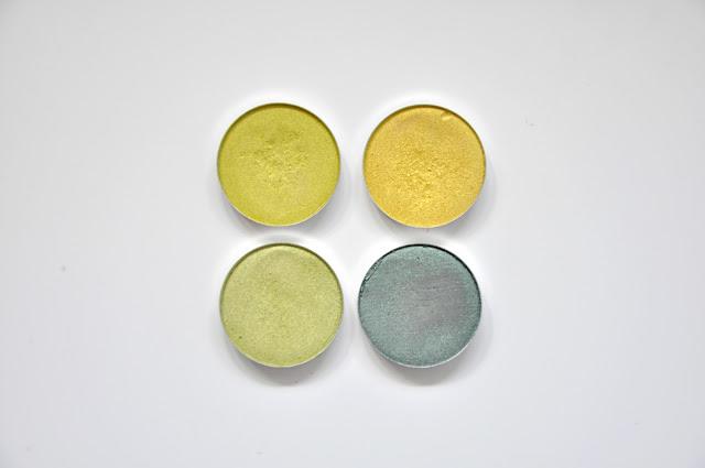 beztalkowe cienie glamshadows - limonka, kanarkowy, fiona, butelka