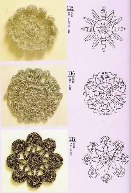 Motivos Florais Circulares de Crochê  Com Gráfico 14