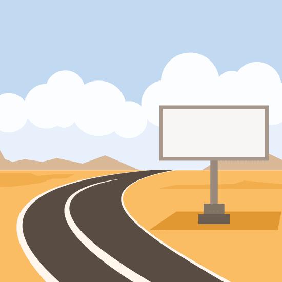 Cartel en la carretera cartoon