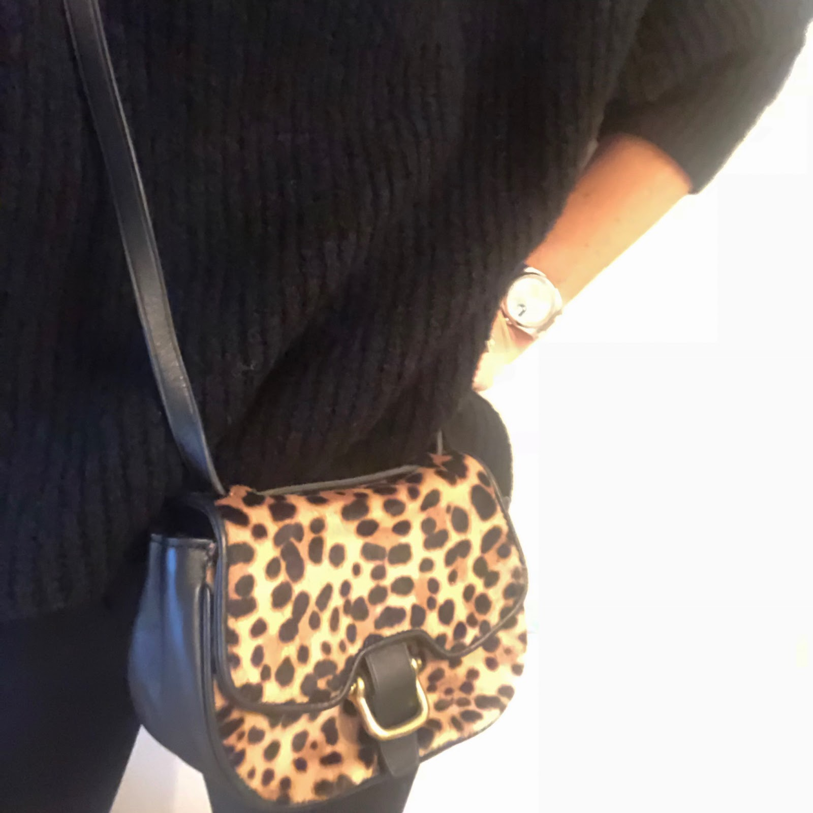my midlife fashion, zara oversized roll neck jumper, j crew cameron slim fit cigarette pants, j crew leopard print cross body bag, charlotte olympia kitty velvet flat pumps