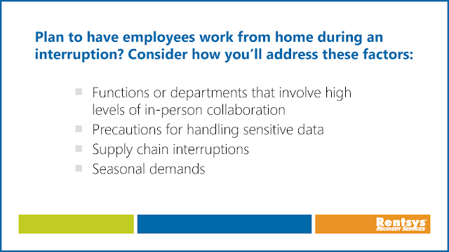 Factors to consider before having employees work from home during a business interruption