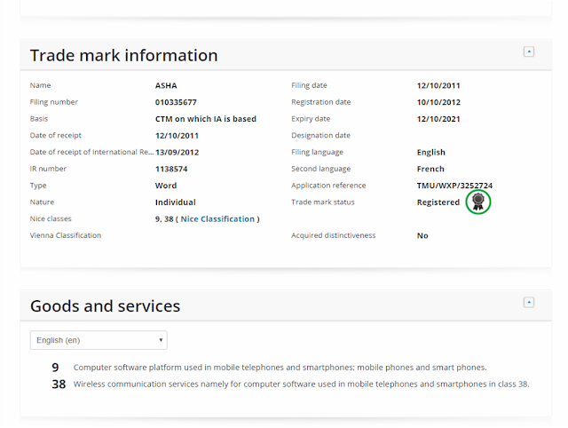 ASHA Trademark information