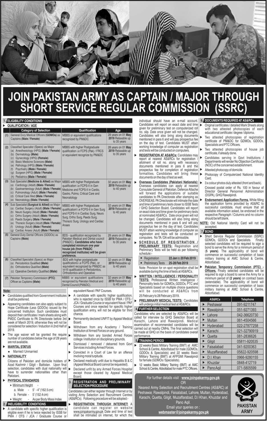 Join Pak Army As Captain (SSRC) 2019 | 650 New Vacancies | Major Through Short Service Regular Commission