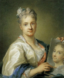 Rosalba Carriera: shown painting her sister in a self-portrait housed at the Uffizi in Florence