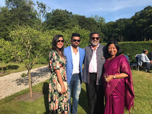 Priyanka Raina and Suresh Raina with His Excellency Mr Rajamony and his wife Mrs Rajamony (