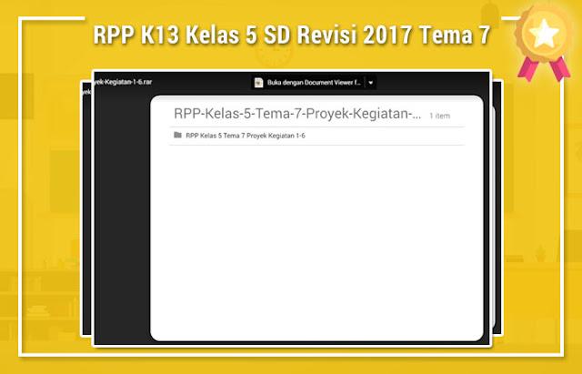 RPP K13 Kelas 5 SD Revisi 2017 Tema 7