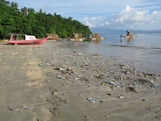 Indonesia plastic waste, Indonesia plastic on beach, plastic waste