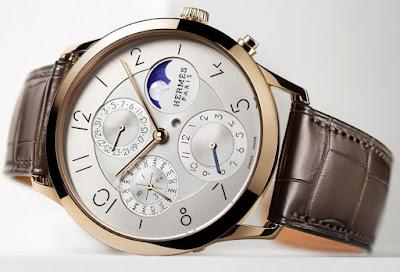 Hermès Slim d'Hermès Perpetual Calendar watch with rose gold case and Opaline silvered dial
