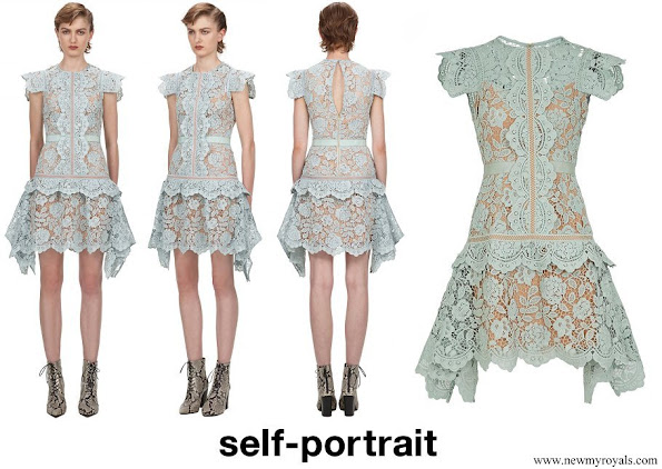 Princess Alexia wore Self Portrait Green Mint Floral Guipure Lace Mini Dress
