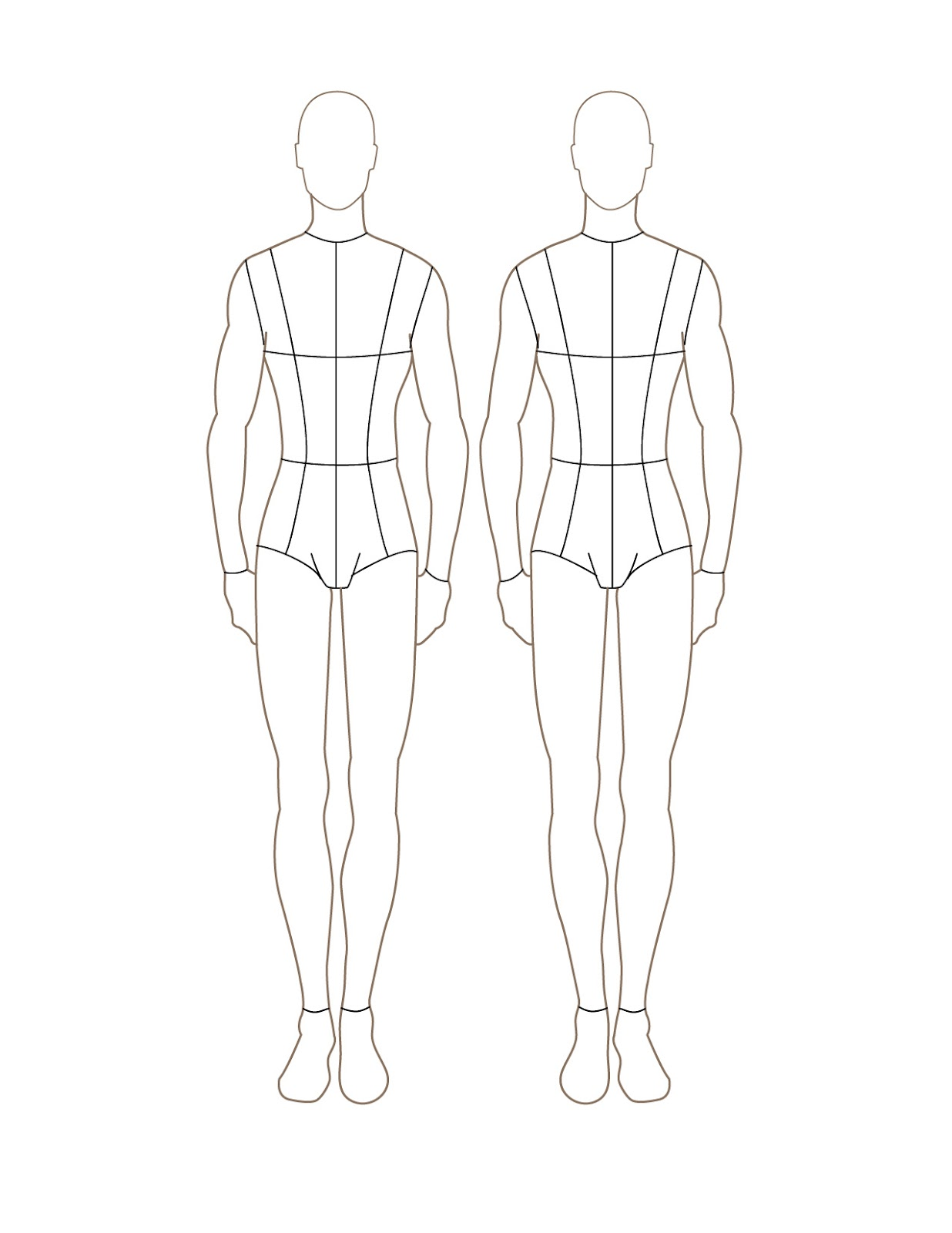 Male Fashion Figure Template Front