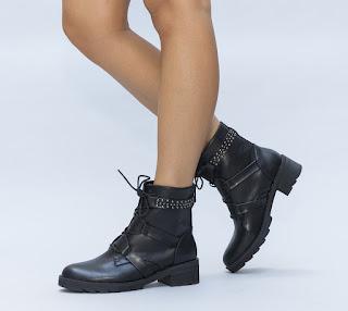 Ghete ieftine de femei, negre inalte in stil rock cu tinte metalice