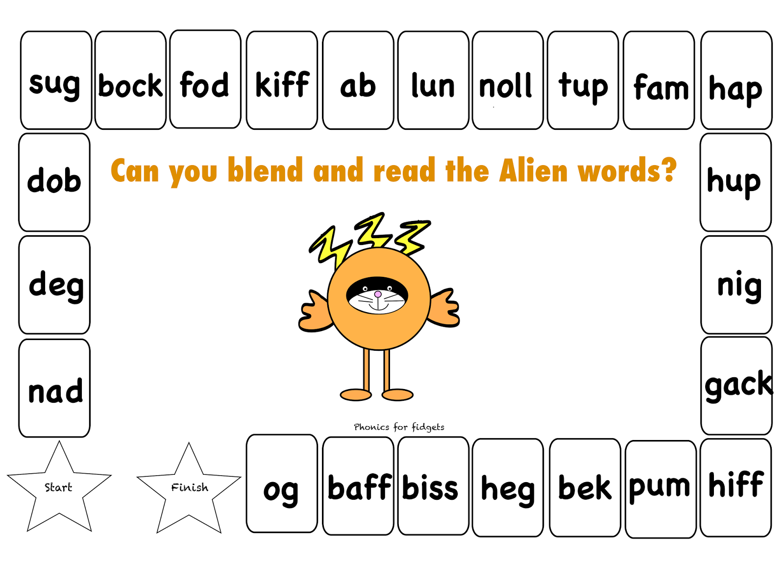 Phonics For Fidgets With Felix Alien Word Board Game
