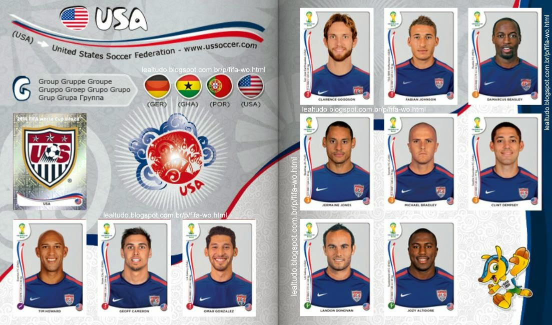 Album USA - ESTADOS UNIDOS Fifa World Cup BRAZIL 2014 LIVE COPA DO MUNDO Sticker Figurinha Download Lealtudo