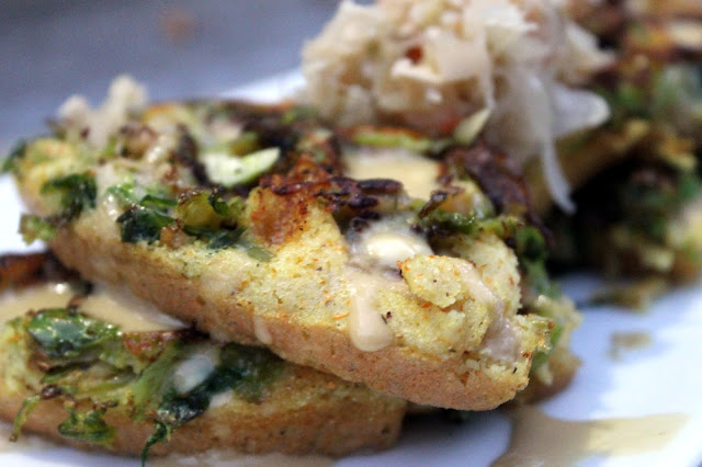 Vegan4One's Brussels Sprout Waffles with Creamy Mustard Sauce