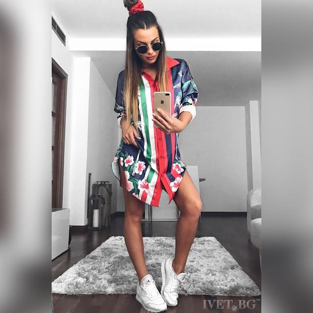 Γυναικείο χρωματιστό πουκάμισο AGOTA - Άνετη γραμμή