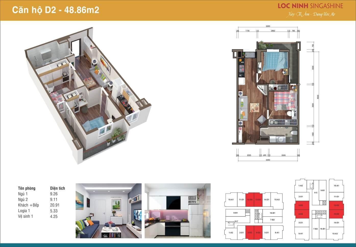 Căn D2 - 48,86m2 chung cư Lộc Ninh.