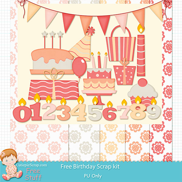 Free Digital Scrapbook Kits Free Birthday Scrap Kit