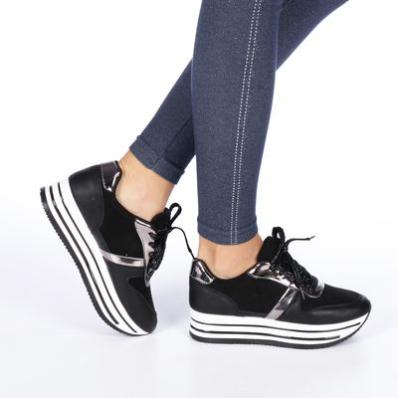 Pantofi sport dama Trina negri cu talpa groasa