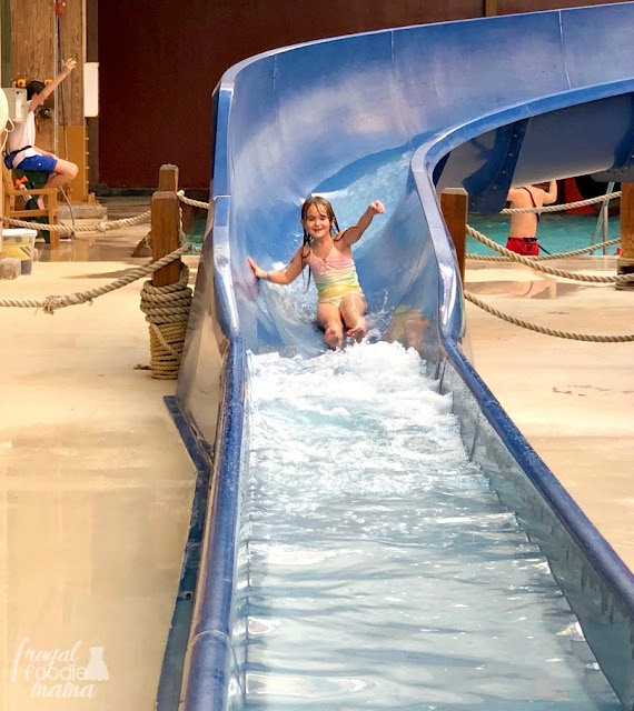 Boasting a water fortress, lazy river, hot tubs, & plenty of water slides, the indoor water park at Massanutten in Virginia is kept at a balmy 84 degrees year round.