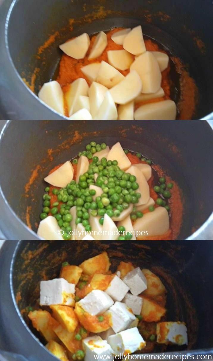 recipe: aloo matar paneer (simmered potatoes with peas and paneer) [37]