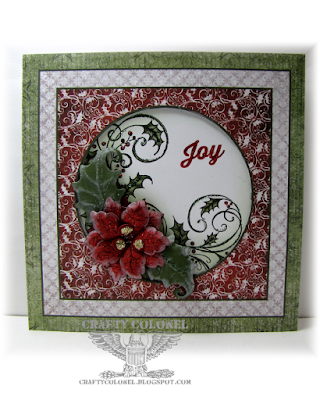 CraftyColonel Donna Nuce for Cards in Envy Challenge blog, Heartfelt creations Sparkling Poinsettia