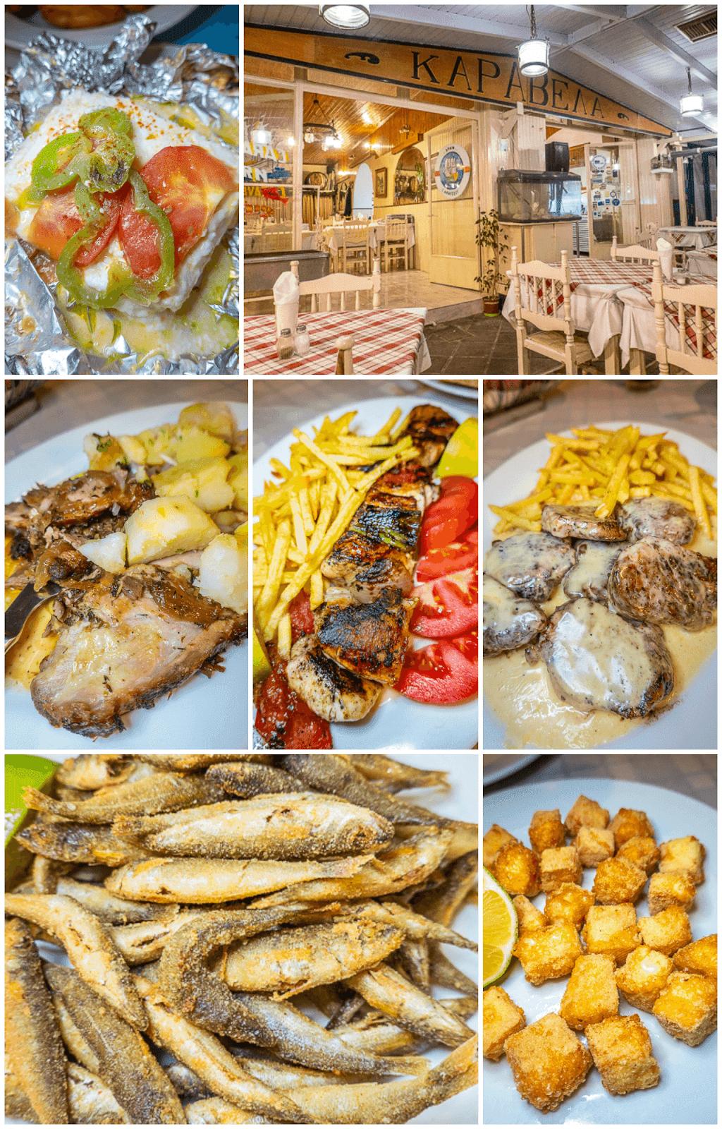 Dinner at Caravella Tavern in Poros Greece