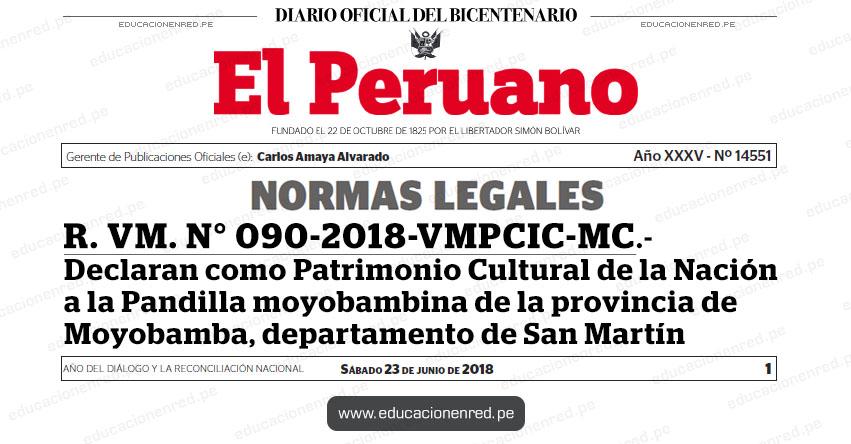 R. VM. N° 090-2018-VMPCIC-MC - Declaran como Patrimonio Cultural de la Nación a la Pandilla moyobambina de la provincia de Moyobamba, departamento de San Martín - www.cultura.gob.pe