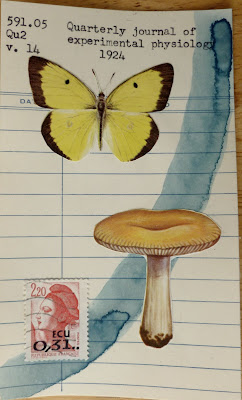 Quarterly Journal of experimental physiology butterfly french postage stamp of liberty mushroom library card mail art Fluxus Dada Collage